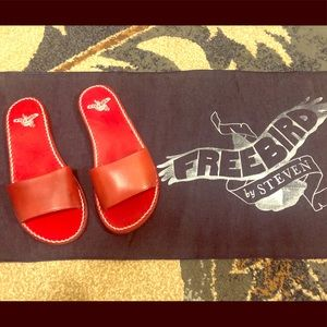 Freebird Red Strap Leather Sandals